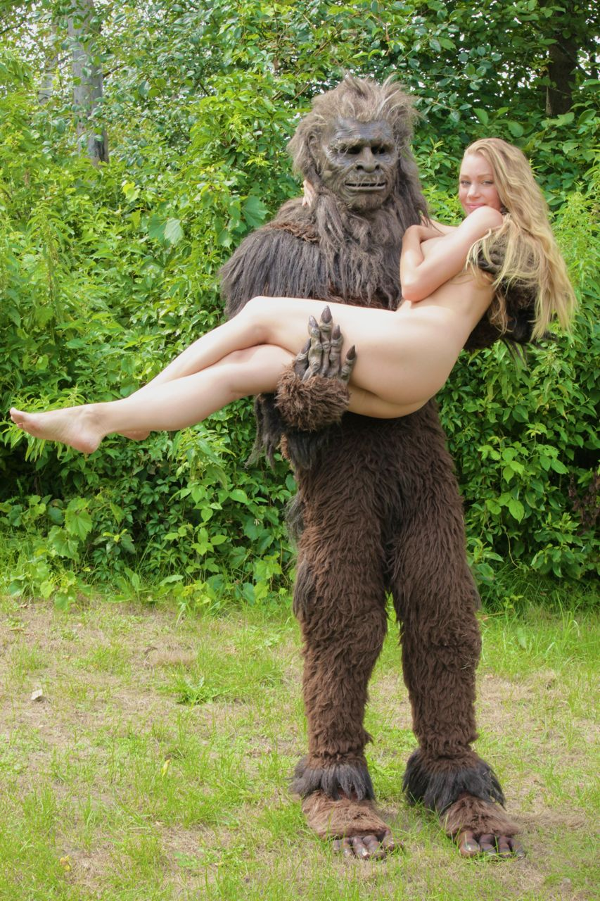 Woman with ape naked